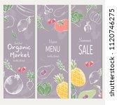 farm vegetables vector poster.... | Shutterstock .eps vector #1120746275