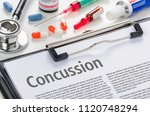 the text concussion written on... | Shutterstock . vector #1120748294