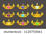 cartoon golden princess crowns... | Shutterstock .eps vector #1120753061