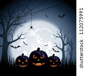 halloween night background with ... | Shutterstock . vector #112075991