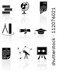 Set of black science icons on a white background, illustration - stock photo