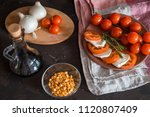 italian bruschetta with chopped ... | Shutterstock . vector #1120807409