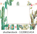 watercolor cactus party card in ... | Shutterstock . vector #1120811414