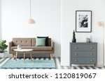 brown sofa with green cushions... | Shutterstock . vector #1120819067