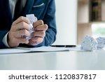 businessman hand crumpling... | Shutterstock . vector #1120837817
