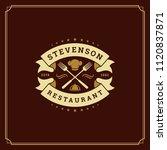 restaurant logo design vector... | Shutterstock .eps vector #1120837871