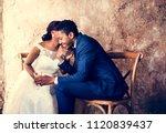 newlywed african descent couple ... | Shutterstock . vector #1120839437