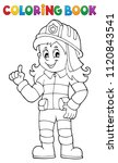 coloring book firefighter woman ...   Shutterstock .eps vector #1120843541