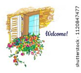 window and flowers box welcome... | Shutterstock .eps vector #1120847477