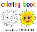 vector  book coloring sun | Shutterstock .eps vector #1120850801