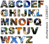 Complete alphabet made of collage of photos - stock photo