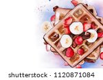 breakfast. dessert waffles with ... | Shutterstock . vector #1120871084