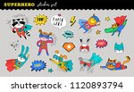 superhero animals cute sticker... | Shutterstock .eps vector #1120893794