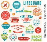 set of beach and ocean style... | Shutterstock .eps vector #112091435