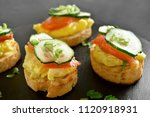 tasty canape with salmon ... | Shutterstock . vector #1120918931