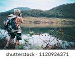 traveler hiker man with... | Shutterstock . vector #1120926371