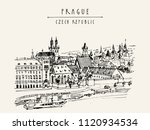 prague skyline  czech republic  ... | Shutterstock .eps vector #1120934534