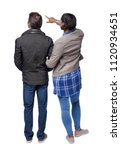 back  view of the interracial ... | Shutterstock . vector #1120934651