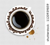 cup with coffee and plate and... | Shutterstock .eps vector #1120939859