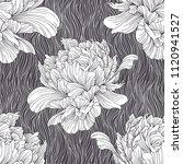 hand drawn linen peony flower ... | Shutterstock .eps vector #1120941527