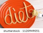 word diet made from noodles in...   Shutterstock . vector #1120949051