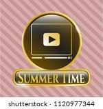 gold shiny emblem with video... | Shutterstock .eps vector #1120977344