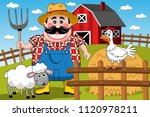 farmer farm cartoon animal... | Shutterstock .eps vector #1120978211