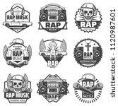 vintage monochrome rap music... | Shutterstock .eps vector #1120987601