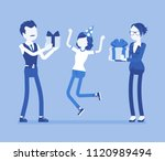 happy family at birthday party...   Shutterstock .eps vector #1120989494