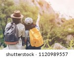 happy travel together of... | Shutterstock . vector #1120989557