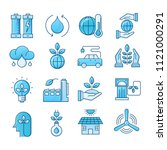 simple set ecology flat icons... | Shutterstock .eps vector #1121000291