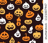 seamless pattern for halloween... | Shutterstock .eps vector #1121007947