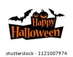 happy halloween text banner... | Shutterstock .eps vector #1121007974
