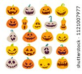 set of halloween scary pumpkins.... | Shutterstock .eps vector #1121007977