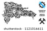 Repair workshop Dominican Republic map collage of tools. Abstract territory plan in grey color. Vector Dominican Republic map is done of gearwheels, wrenches and other equipment icons.
