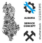 Service Albania map collage of tools. Abstract territorial plan in gray color. Vector Albania map is shaped of gears, screwdrivers and other mechanics objects. Concept of tuning service.