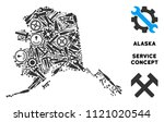 Repair service Alaska map composition of tools. Abstract geographic scheme in gray color. Vector Alaska map is designed of gear wheels, screwdrivers and other service icons.