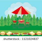 barbecue party invitation card   Shutterstock .eps vector #1121024837