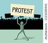 protest concept  man with... | Shutterstock .eps vector #1121030441