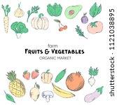 farm vegetables vector poster.... | Shutterstock .eps vector #1121038895
