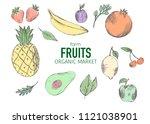 farm vegetables vector poster.... | Shutterstock .eps vector #1121038901