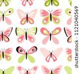 butterflies vector pattern.... | Shutterstock .eps vector #1121040569