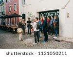lisbon  june 18  2018  a guide... | Shutterstock . vector #1121050211