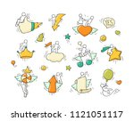 cartoon set with lifestyle... | Shutterstock .eps vector #1121051117