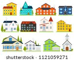 little cute house or apartments.... | Shutterstock .eps vector #1121059271
