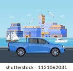 trip along an asphalt road on... | Shutterstock .eps vector #1121062031