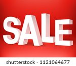 sale 3d letters on red... | Shutterstock . vector #1121064677