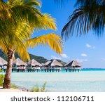 beautiful beach on bora bora...   Shutterstock . vector #112106711