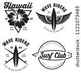 set of vintage surfing graphics ...   Shutterstock .eps vector #1121073485