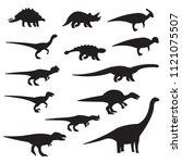 dinosaurs silhouette icon set.... | Shutterstock .eps vector #1121075507